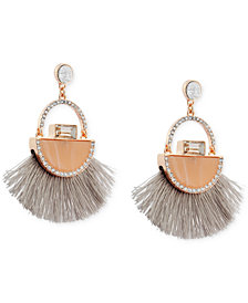 GUESS Rose Gold-Tone Stone & Pavé Fringe Drop Earrings