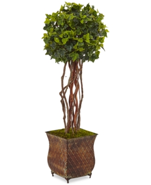 Nearly Natural 30 English Ivy UvResistant IndoorOutdoor Artificial Tree in Metal Planter