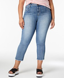 Seven7 Trendy Plus Size Raw Hem Straight-Leg Jeans