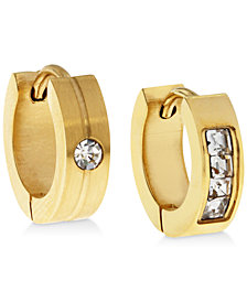 Sutton by Rhona Sutton Men's Gold-Tone Stainless Steel & Cubic Zirconia Mismatch Hoop Earrings