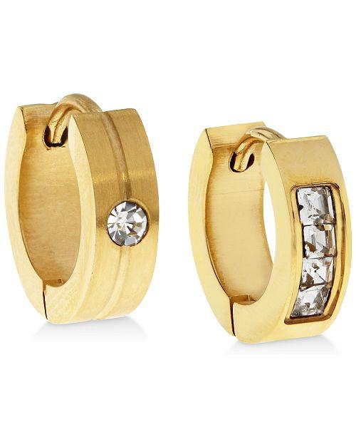 Sutton by Rhona Sutton Men's Gold-Tone Stainless Steel & Cubic Zirconia Mismatch Small Hoop Earrings  s