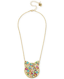 "Betsey Johnson Gold-Tone Crystal Cat Head Pendant Necklace 15-1/2"" + 3"" extender"
