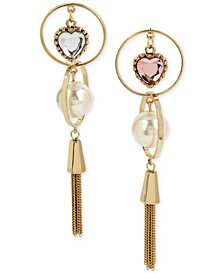 Betsey Johnson Gold-Tone Imitation Pearl & Crystal Heart Mismatch Fringe Drop Earrings