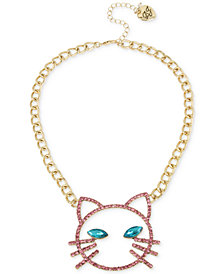 "Betsey Johnson Gold-Tone Pavé & Stone Cat Face Pendant Necklace, 16"" + 3"" extender"