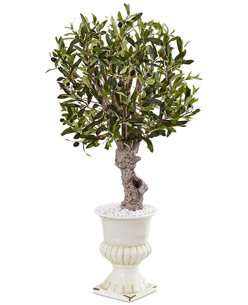 Nearly Natural 3' Olive Artificial Tree in White Urn Planter