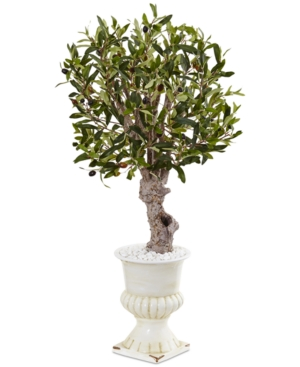 Nearly Natural 3 Olive Artificial Tree in White Urn Planter