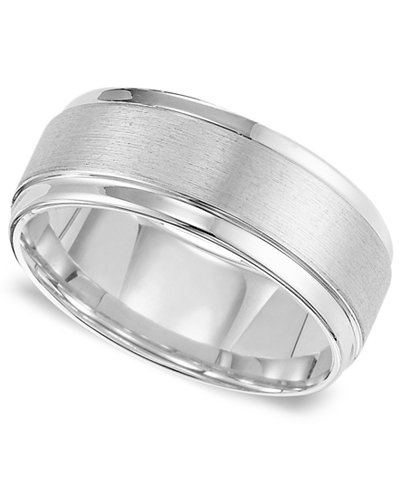 Triton Men S White Tungsten Carbide Ring Comfort Fit Wedding Band 9mm