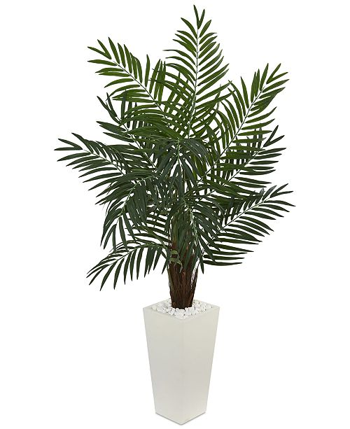Nearly Natural 5.5' Areca Palm Artificial Tree in White Tower Planter