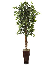 Nearly Natural 6.5' Ficus Artificial Tree in Decorative Planter
