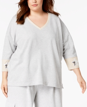 525 America PLUS SIZE SEQUIN-PATCH SWEATSHIRT, CREATED FOR MACY'S
