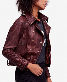 Free People Avis Leather Moto Jacket
