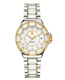TAG Heuer Women's Swiss Formula 1 Diamond (1/2 ct. t.w.) Two Tone Stainless Steel Bracelet Watch 36mm WAH1221.BB0865