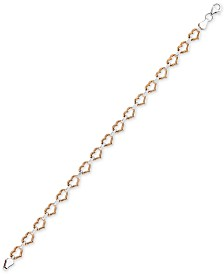 Two-Tone Heart Link Bracelet in 10k White & Rose Gold