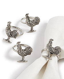 CLOSEOUT! Martha Stewart Collection Chicken Farmhouse Napkin Rings, Set of 4, Created for Macy's
