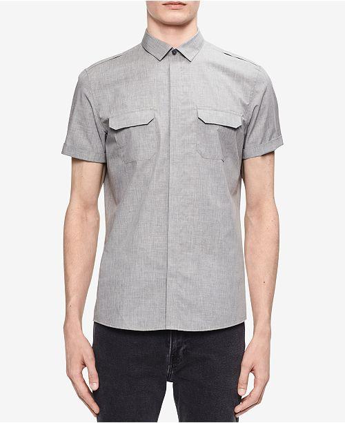 81ceca5bff5bd Calvin Klein Men s Two-Pocket Shirt - Casual Button-Down Shirts ...
