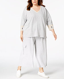 525 America Plus Size Sequin-Patch Sweatshirt & Cropped Sweatpants, Created for Macy's