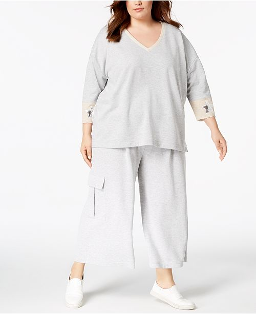 6150f98946 525 America Plus Size Cropped Cargo Sweatpants