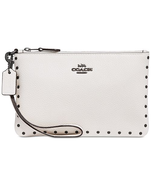 7b19c874f5 COACH Border Rivets Wristlet in Polished Pebble Leather   Reviews ...