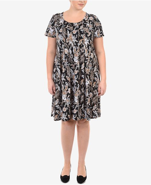 Ny Collection Plus Size Pleated Babydoll Dress Dresses Plus
