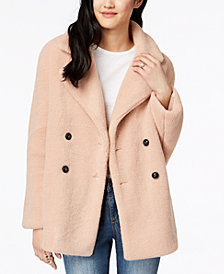 Collection B Juniors' Double-Breasted Faux-Fur Coat