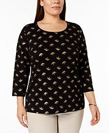 Karen Scott Plus Size Metallic-Print Top, Created for Macy's