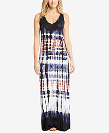 Karen Kane V-Neck Tie-Dye Maxi Dress