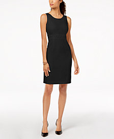 Kasper Embellished-Waist Sheath Dress