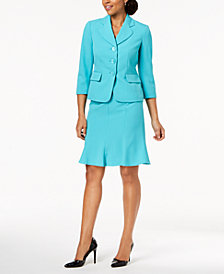 Le Suit Three-Button Crepe Skirt Suit, Regular & Petite