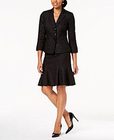 Le Suit Tweed Three-Button Flare-Hem Skirt Suit