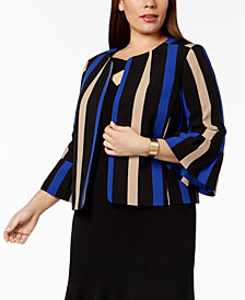 Nine West Plus Size Striped Flyaway Blazer