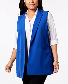 Nine West Plus Size Tie-Detail Vest