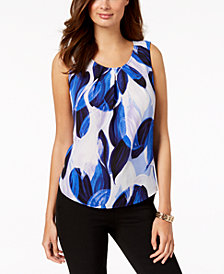 Nine West Printed Jewel-Neck Shell