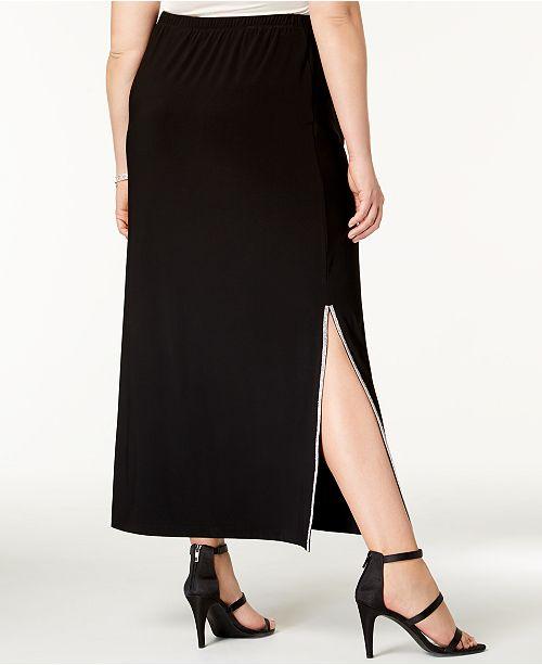 e8379582c968d MSK Plus Size Rhinestone-Embellished Maxi Skirt   Reviews - Skirts ...