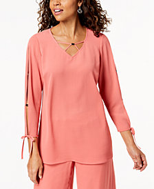 JM Collection Split-Sleeve Lattice-Neck Top, Created for Macy's