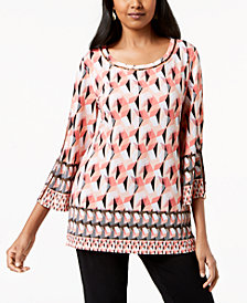 JM Collection Petite Embellished Split-Sleeve Tunic, Created for Macy's