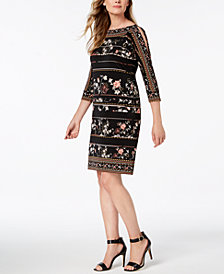 JM Collection Embellished Shoulder-Cutout Dress, Created for Macy's