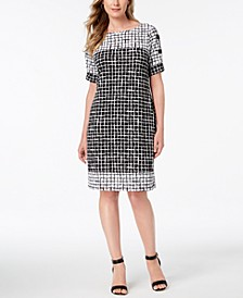 Petite Printed Split-Sleeve Dress, Created for Macy's
