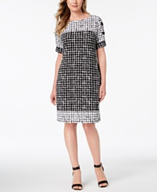 JM Collection Printed Lattice-Sleeve Dress, Created for Macy's