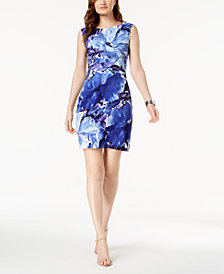 Connected Petite Tiered Floral-Print Sheath Dress