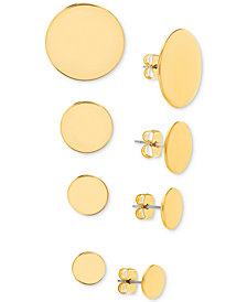 Steve Madden Gold-Tone 4-Pc. Set Circle Stud Earrings