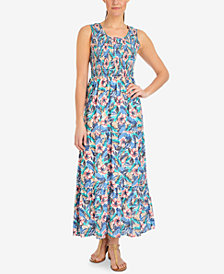 NY Collection Petite Printed Smocked-Bodice Maxi Dress