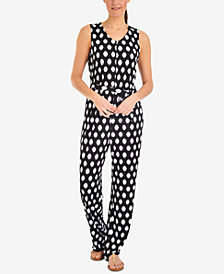 NY Collection Petite Dot-Print V-Neck Jumpsuit