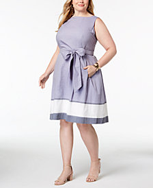 Anne Klein Plus Size Cotton Fit & Flare Dress