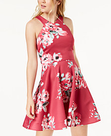 Sequin Hearts Juniors' Floral-Print Fit & Flare Dress