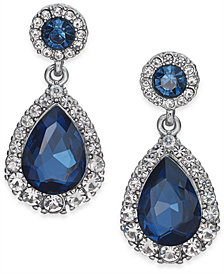 Charter Club Silver-Tone Pavé & Stone Drop Earrings, Created for Macy's