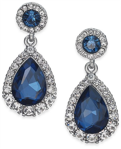 Charter Club Pavé & Stone Drop Earrings, Created for Macy's