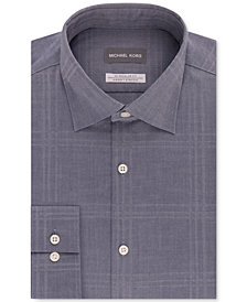 Michael Kors Men's Classic/Regular Fit Non-Iron Airsoft Stretch Performance Navy Check Dress Shirt