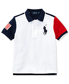 Polo Ralph Lauren Color-Blocked Cotton Mesh Polo Shirt, Little Boys
