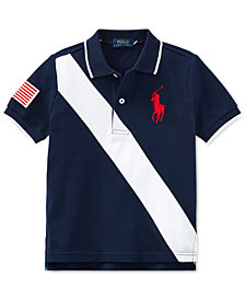 Polo Ralph Lauren Big Boys Banner-Striped Mesh Cotton Polo