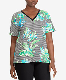 Lauren Ralph Lauren Plus Size Floral-Print Cotton T-Shirt
